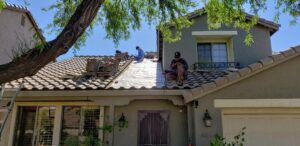 Repairing a tile roof in Tucson, Arizona