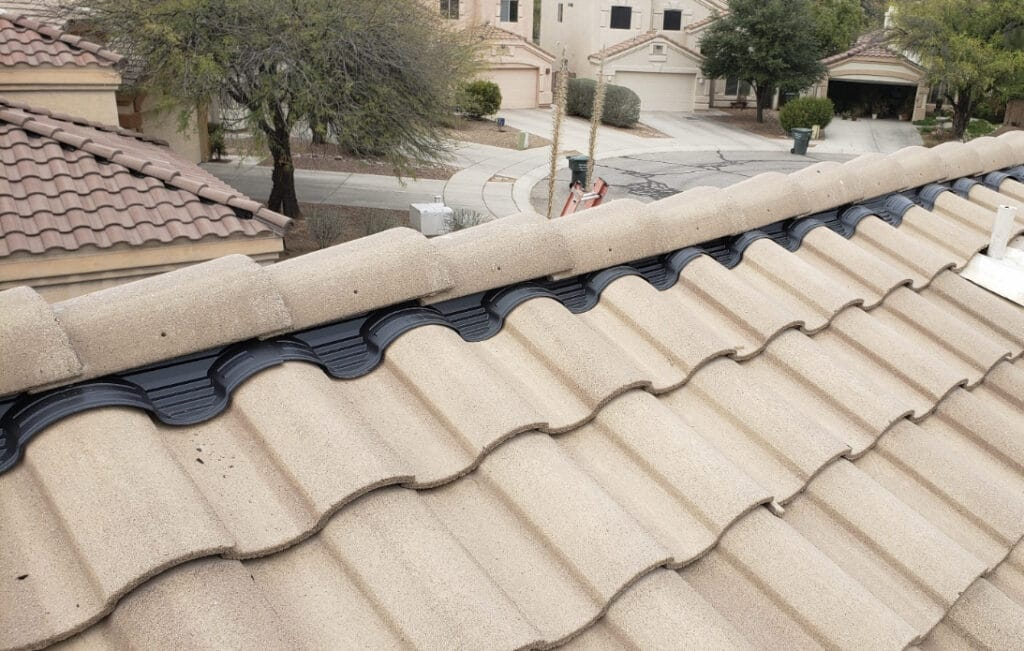 top of a tile roof being inspected