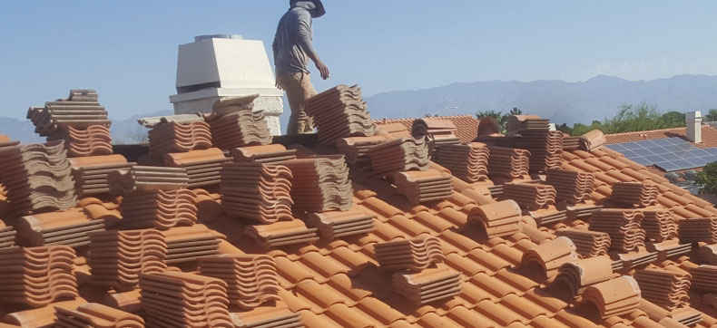 Tucson roofing contractor installing tile roof