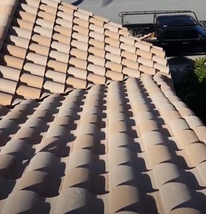 straight rows of roof tiles